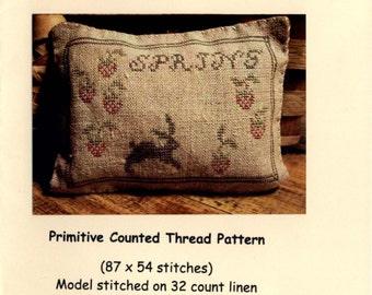 Primitivebettys: Strawberries & Bunny - Cross Stitch Pattern