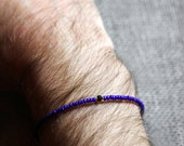 venice blues mens bracelet - blue small bead bracelet with gem for men