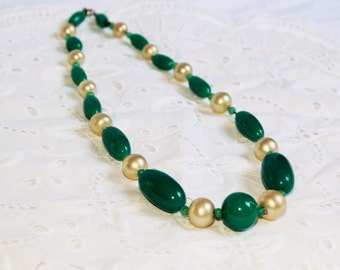 Chunky beaded choker necklace / vintage large glass beads / emerald green ivory / art deco estate piece circa 1920s or 1930s