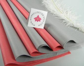 Coral and Gray Tissue Paper | Light Grey & Coral Pink | 48 Sheets | DIY Wedding Decor | Craft Supplies | Gift Wrap DIY Pom Pom Supplies