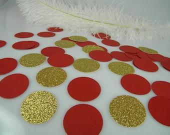 Gold Glitter & RED Confetti Decoration, Bachelorette Party Table Scatter, Graduation Decoration