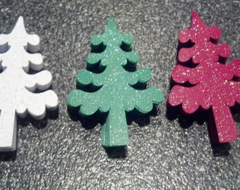 60 Red,Green & White Sparkle Christmas Tree Die Cuts Embellishments