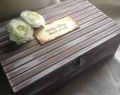 Large Custom Cottage Chic Wedding Wine Love Letter Box  Keepsake Anniversary Gift Romantic Vintage Inspired