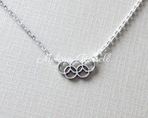 Olympic Rings Silver Necklace, Rio 2016, London 2012, Sochi 2014, winter games, handmade jewelry