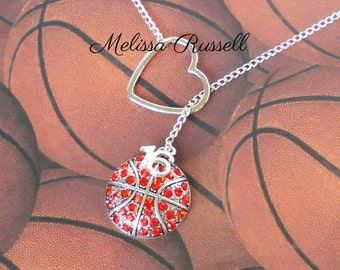 Basketball Lariat Necklace with Rhinestones, Heart and Number, handmade jewelry, birthday, christmas, gifts for her, mom, sale
