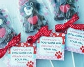 Personalized Valentine Puppy Dog Tags, Treat Tags, Favor Tags, Cupcake Toppers Printable - Dog-gone Good