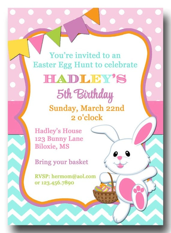 Easter chevron polka dot invitation printable or printed with free il570xn filmwisefo