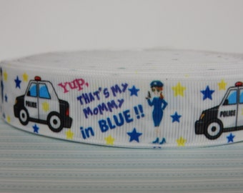POLICE officer mommy grosgrain ribbon perfect for unique hairbows, crafts, sewing
