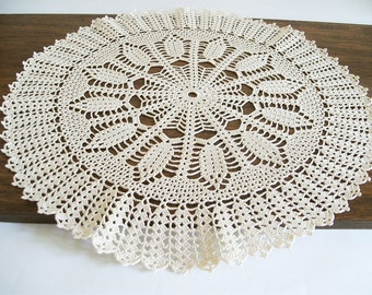 Crochet Tablecloth Round Coffee Table Crochet Top Rustic Kitchen Decor Handmade Lace Doily