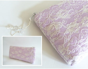 Lavender Blush Lace Clutch Satin and Lace Wedding, Romantic Purse for Bride, Orchid Pink Bag