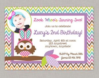 Easter Birthday Invitation, Owl Birthday Party, Easter Birthday Party, Printable