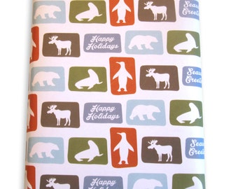 Holiday animal pattern gift wrap