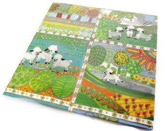 Vintage Wrapping Paper - Spring Lamb All Occasion Gift Wrap - Lambs Landscape - One sheet.