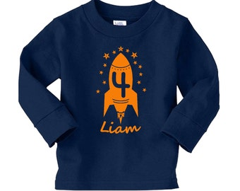 Personalized Rocket Outer Space birthday shirt - long sleeve tshirt - pick your colors!