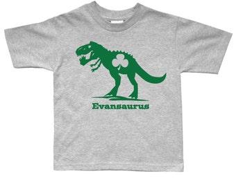 St. Patricks Day Dinosaur T Rex Shamrock Shirt - any name - pick your colors!