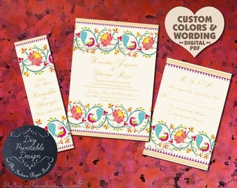 Indian Wedding Invitation Suite Design Pdf Template DIY PRINTABLE Paithani Lotus Peacock Engagement Party Cheap Set Online Card Destination