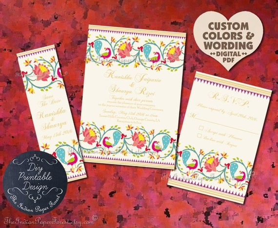 Indian wedding invitation suite design pdf template diy for Free printable hindu wedding invitations