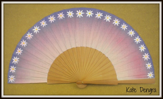 Hippie Daisy Pink Purple Wooden Festival Hand Fan Hand Painted by Kate Dengra Spain