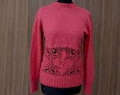 Coral pink  sweater, knitted sweater, crochet motifs sweater, see through sweater, melange yarn sweater, unique sweater