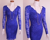 Vintage - 80s/90s - Electric Blue Lace - See Through Long Sleeve - Stretch - Bodycon - Wiggle - Hour Glass - Cocktail - Party Dress