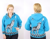Vintage - 90s - Turquoise Blue - Ethnic - Novelty - Lone Wolf Howling at Moon - Zip Up - Jacket - Sweatshirt - Hoodie