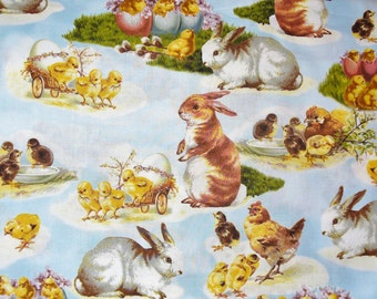 Easter Fabric, Victorian Spring, Robert Kaufman, Blue Background, Easter Vignettes, Rabbits, Chicks,  Ducks Fabric, By the Yard