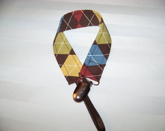 Fabric Pacifier Clip, Universal Pacifier Clip, Paci Clip, Binky Clip, Brown, Blue and Cream Argyle, Works with Most Pacifier Brands