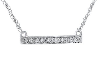1/16CT Diamond Bar Pendant Necklace 14K White Gold with Chain