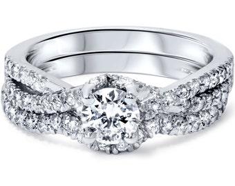 1.00CT Diamond Infinity Engagement Wedding Ring Bridal Set Matching Wedding Band 14K White Gold Size 4-9