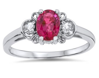 1.25CT Ruby & Diamond Ring 14K White Gold - Size 4-9