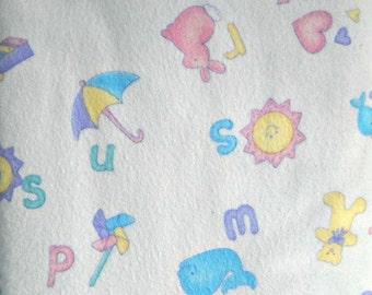 Baby Talk Alphabet Panel Flannel Fabric, by Cheri Strole, for Moda Fabrics, 100 Percent Cotton, 1 panel cut