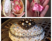 RESERVED 1 of 2 payments / postage included Vintage Embellished Rhinestone Egg, Jeweled, Teenie Miniature porcelain Nancy Ann Story Book dol