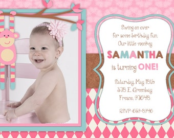 PInk Sock Monkey Birthday Invitation