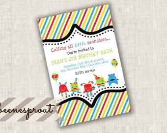 Little Monsters Striped Birthday Invitation