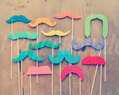 13 Felt Mustache Props Double-Layered Soft Felt Mustaches