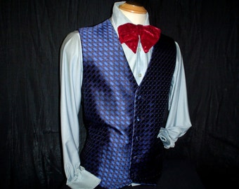 "90s 42"" Silk Brocade Men's Tuxedo Vest Carrot & Gibbs Blue Black"