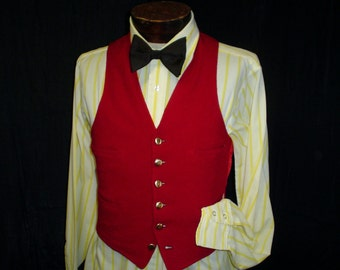"1910s 36"" Marshall Field Company Mens Red Wool Vest Waistcoat"