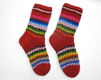 Size L/M: Handmade Fun Woolen Winter Socks