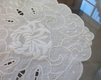 SALE Antique Vintage Whitework Heavily Hand Embroidered White Linen Table Centerpiece