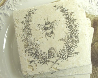 Natural stone coaster.  Bee Coaster.  Set of Four Coasters.  Gift