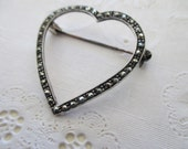 heart sterling silver pin - marcasites, brooch