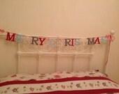 Christmas Banner Bunting Merry Christmas Bunting Felt Holiday Festive Tree Garland Felt words
