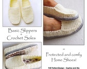 2in1-Pattern-PACK for Winter Loafers basic Slippers, + CROCHET-Soles - Instant Download Pdf