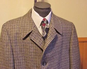 Mens Coat Tweed Coat Wool Coat HoundsTooth Tweed Coat Vintage Winter Coat