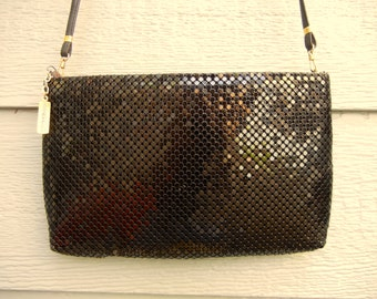 Vintage 80s Black 'Whiting And Davis' Mesh Cross-Body Bag