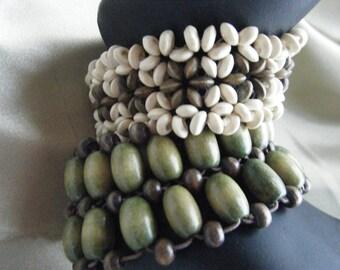 Boho Chic Wood Seeded Bracelets  , Vintage Stretch 1970's Jewelry