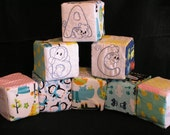 Flannel Baby embroidered Alphabet Blocks, 4 inch foam blocks with flannel, Handmade Baby Toys, Name Blocks *** Free Shipping in the USA***