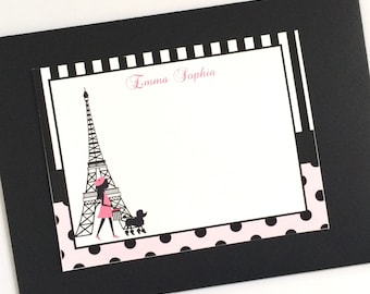 Girl in Paris Personalized Note Cards Set of 12
