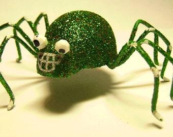 Green Glitter Spider 4 Inch Plastic Cute Halloween - Hair Jewelry