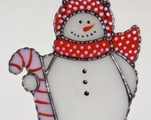 Christmas Holiday Stained Glass Suncatcher - Winter Icy Snowman with Candy Cane